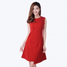 Đầm phối nút eo nhúng dễ thương thời trang Eden d146 (đỏ)