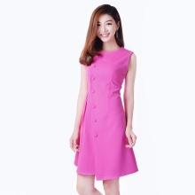 Đầm phối nút eo nhúng dễ thương thời trang Eden d146 (hồng sen)