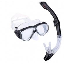 Bộ kính lặn ống thở, mắt kính cường lực, ống thở ngăn nước cao cấp POPO Collection (Đen)