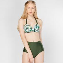 Bikini lưng cao họa tiết tropical xanh P2P Bikini