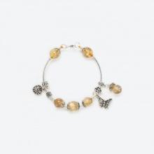 Vòng tay thạch anh tóc vàng 8mm mix charm bướm bạc 925