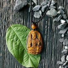 Mặt dây chuyền Bất Động Minh Vương đá mắt hổ (3.6 x 2.3 cm)