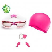 Bộ kính bơi, mũ bơi, bịt tai kẹp mũi 2360 POPO Collection (Hồng)