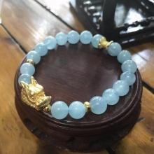 Vòngtay đá aquamarine (hải lam ngọc) mix tỳ hưu