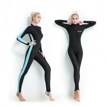 Quần áo lặn biển chống nắng, 1mm dài tay nữ - xanh, cản tia UV Popo Collection