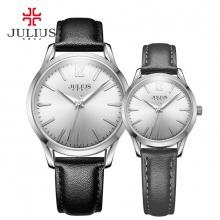 Đồng hồ cặp Julius JA983 dây da đen mặt trắng