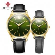 Đồng hồ cặp Julius JA983 dây da đen mặt xanh