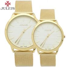 Đồng hồ cặp Julius JA982 dây thép vàng