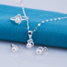 Opal bộ sản phẩm bạc đính ngọc trai T2