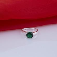 Opal - Nhẫn bạc đính đá ross xanh _T05