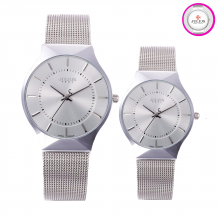 Đồng hồ cặp Julius JA577 dây thép bạc mặt trắng