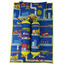 Bộ 4 món ga gối Sleep Baby - Vehicle & Stations Blue