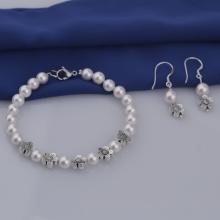 Opal - vòng tay và hoa tai ngọc ốc bạc _T05