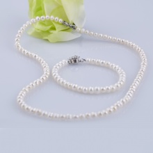 Opal - Vòng cổ và lắc tay ngọc trai trắng _T05