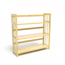 Kệ sách 3 tầng HB390 gỗ cao su màu tự nhiên (90x30x90cm)