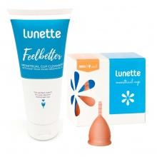 Bộ cốc nguyệt san Lunette, nhập khẩu chính hãng (màu cam, size 1 + nước rửa 100 ml)