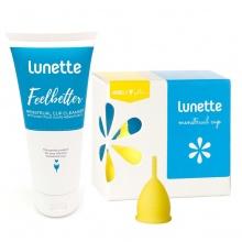 Bộ cốc nguyệt san Lunette, nhập khẩu chính hãng (màu vàng, size 1 + nước rửa 100 ml)
