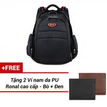 Ba Lô Ronal BL47 - Đen logo niken đỏ tặng 2 ví nam màu đen + bò