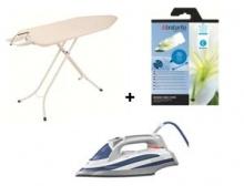 BRABANTIA - Bộ 3 sản phẩm bàn để ủi quần áo và bao áo phủ cotton và bàn là điện hơi nước Brabantia