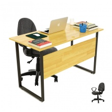 Bộ bàn Rec-F Plus chân đen màu tự nhiên gỗ cao su và ghế IB505 đen - IBIE