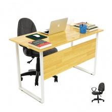 Bộ bàn Rec-F Plus chân trắng màu tự nhiên gỗ cao su và ghế IB505 - IBIE