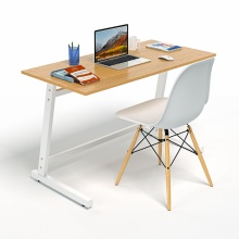 Bộ bàn làm việc CZN-Pisa gỗ cao su veneer sồi chân trắng và ghế eames trắng  - COZINO