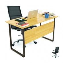 Bộ bàn Rec-F Plus chân đen màu tự nhiên gỗ cao su và ghế IB16A đen - IBIE