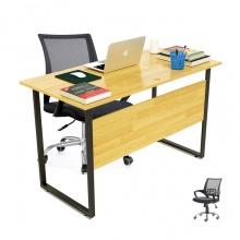 Bộ bàn Rec-F Plus chân đen màu tự nhiên gỗ cao su và ghế IB517 đen - IBIE