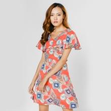 Đầm xòe thời trang Eden cổ tim tay cánh tiên họa tiết cam - D293