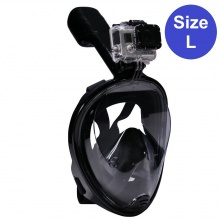 Mặt nạ lặn Full Face size L gắn được gopro,sjcam tầm nhìn 180 độ, ống thở ngăn nước POPO Collection (Đen)