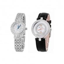 Combo 2 đồng hồ nữ chính hãng Royal Crown 3844 dây thép và 3628 dây da đen