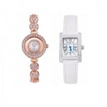 Combo 2 đồng hồ nữ chính hãng Royal Crown 5308 dây đá vàng hồng và 6306 dây da trắng