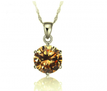 Opal - Mặt dây chuyền bạc đính đá ross vàng _T06