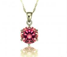 Opal - Mặt dây chuyền bạc đính ross hồng _T06