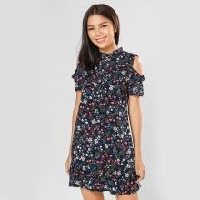 Đầm suông thời trang Eden in hoa D297 (xanh đen)