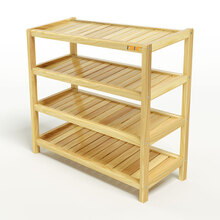 Kệ dép 4 tầng IBIE IB473 gỗ cao su 73x30x68 cm màu tự nhiên