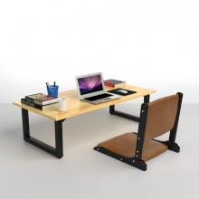 Bộ bàn bệt IBIE Rec-B đen màu tự nhiên 1m2 và ghế Pisu gấp gọn màu nâu