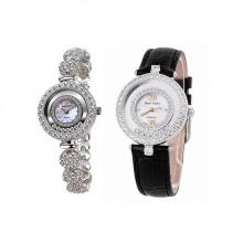 Combo 2 sản phẩm đồng hồ nữ chính hãng Royal Crown 5308 dây đá trắng và 3628 dây da đen