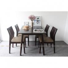 Bộ bàn ăn 4 ghế IBIE Hanam màu walnut