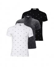 Bộ 3 áo thun nam cổ bẻ hoạ tiết cao cấp BAT001( xám , trắng , đen )