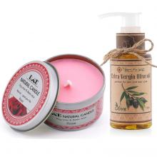 Combo nến thơm tinh dầu hoa hồng hộp thiếc và dầu oliu Ecolife