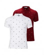 Bộ 2 áo thun nam cổ bẻ hoạ tiết cao cấp BAT011( đỏ , trắng  )