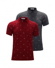 Bộ 2 áo thun nam cổ bẻ hoạ tiết cao cấp BAT012( đỏ , xám  )