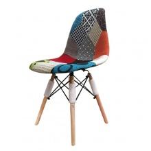 Ghế cafe chân gỗ lưng nhựa bọc vải họa tiết tam giác Lavaco- Mã 205TC