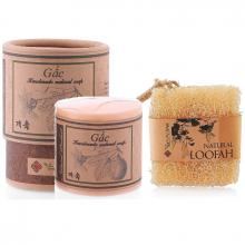 Bộ bông tắm xơ mướp hữu cơ và xà phòng rửa mặt skin gấc  Ecolife tẩy tế bào chết dưỡng ẩm làm mềm da