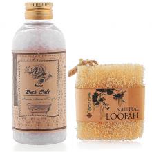 Bộ bông tắm xơ mướp hữu cơ  và muối tắm hoa hồng   Ecolife tẩy tế bào chết se khích lỗ chân lông mềm da, trắng da