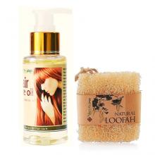 Bộ bông tắm xơ mướp hữu cơ và dưỡng tóc nữ Ecolife