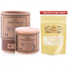 Xà phòng rửa mặt skin gấc Ecolife dưỡng ẩm làm mềm da  tặng bột cám gạo organic