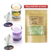 Bộ nến thơm thiên nhiên ngọc lan và oải hương lọ thủy tinh tặng 1 túi muối ngâm, tắm sả chanh