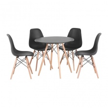 Bộ bàn ăn, cafe hiện đại cho 4 người gồm bàn tròn 4 chân T104 và 4 ghế cafe eames 207